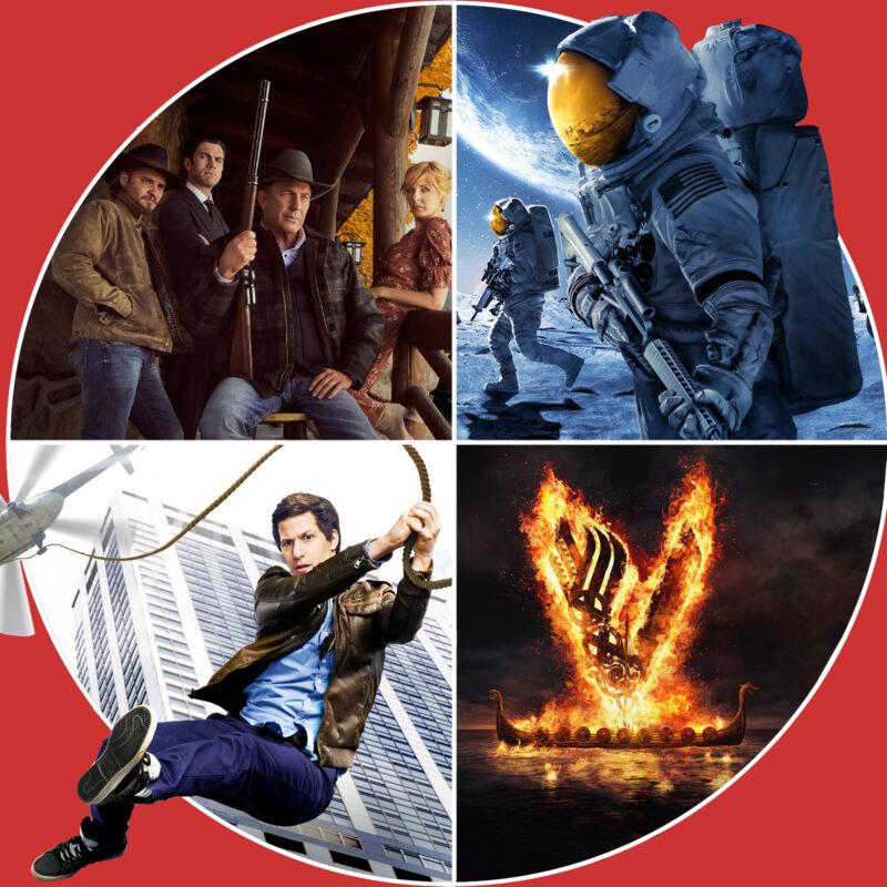 Yellowstone (c) Magenta / For all Mankind (c) Apple / Brooklyn Nine Nine (c) Netflix / Vikings (c) Amazon Prime Video