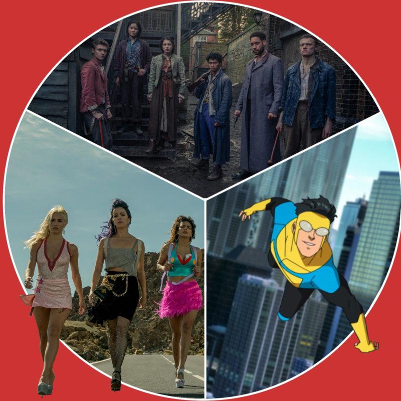 """Sky Rojo"" und ""Die Bande aus der Baker Street"" (c) Netflix / ""Invincible"" (c) Amazon Prime Video"