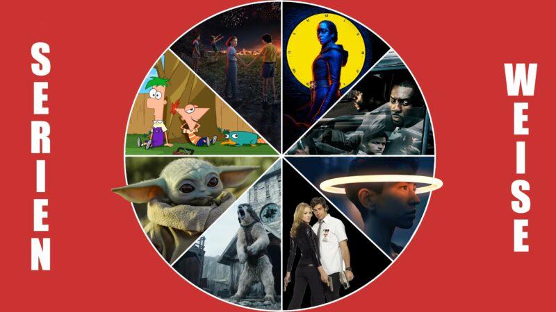 """Stranger Things"" (c) Netflix / ""The Mandalorian"", ""Phineas & Ferb"", ""Devs"" (c) Disney / ""The Wire"", ""Watchmen"", ""His Dark Materials"" (c) Sky Deutschland / ""Chuck"" (c) Amazon Prime Video"
